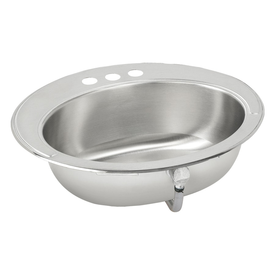 Elkay Asana Lustrous Highlighted Satin Stainless Steel Drop-In Oval Bathroom Sink with Overflow