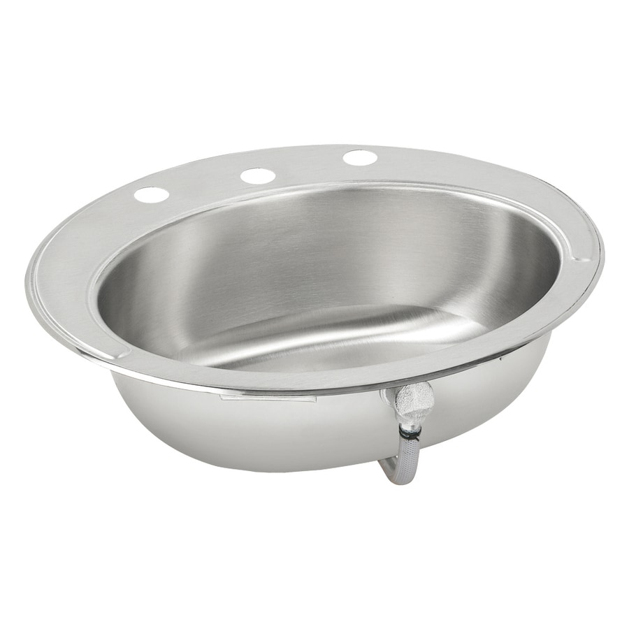Elkay Asana Lustrous Highlighted Satin Stainless Steel Drop In Oval  Bathroom Sink With Overflow