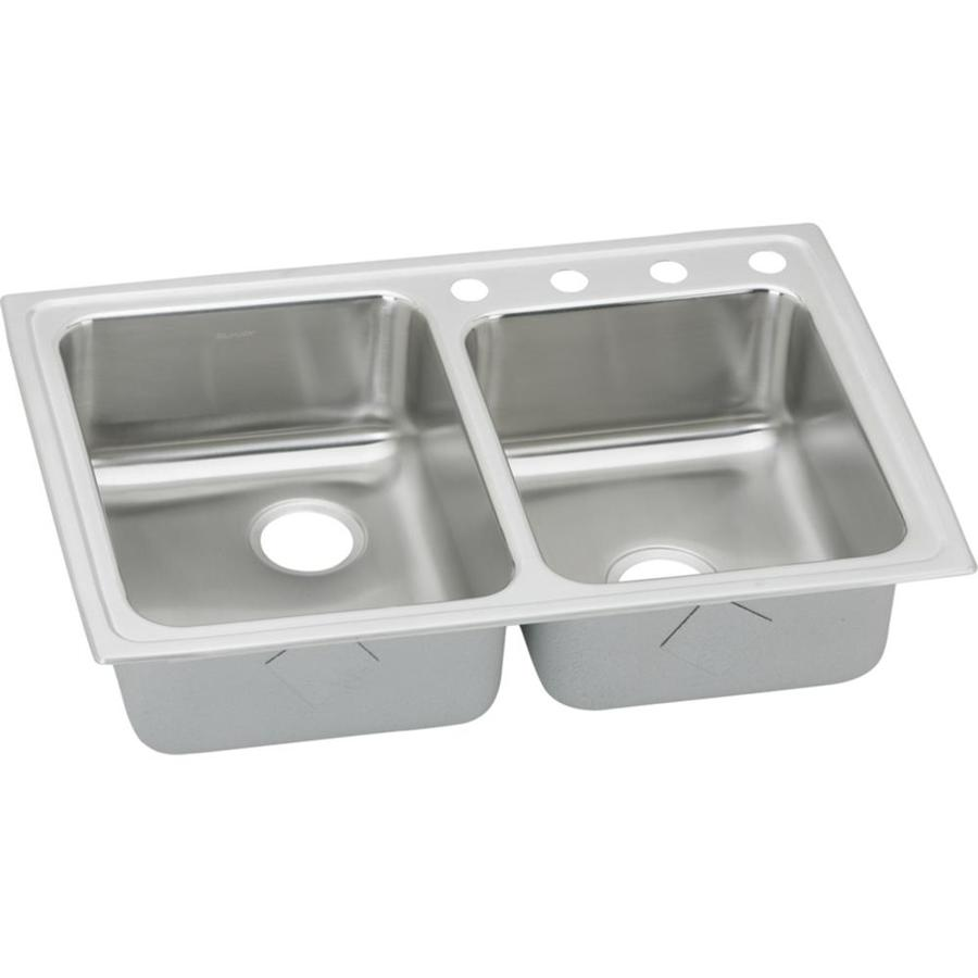 Elkay Gourmet 22-in x 33-in Lustrous Highlighted Satin Double-Basin Drop-in 3-Hole Residential Kitchen Sink