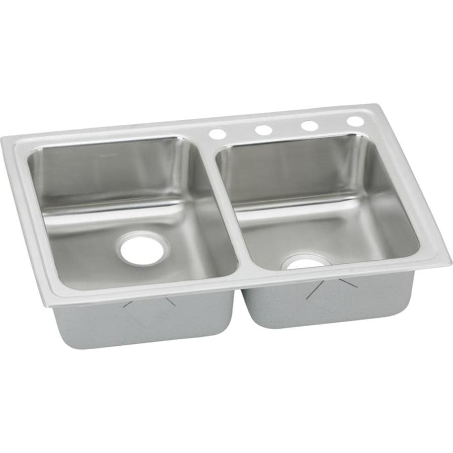 Elkay Gourmet 22-in x 33-in Lustrous Highlighted Satin Single-Basin-Basin Stainless Steel Drop-in 4-Hole Residential Kitchen Sink