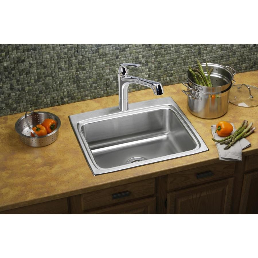 Elkay Lustertone 22-in x 25-in Stainless Steel Single-Basin Drop-in 3-Hole Residential Kitchen Sink