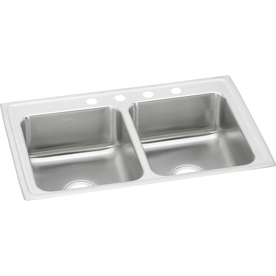 Elkay 22-in x 29-in Double-Basin Stainless Steel Drop-In Kitchen Sink