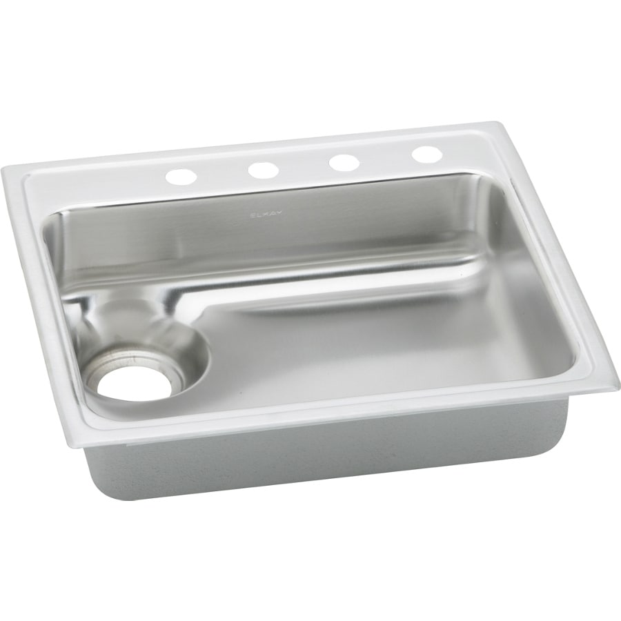 Elkay Gourmet 22-in x 25-in Lustertone Single-Basin Stainless Steel Drop-in 4-Hole Residential Kitchen Sink