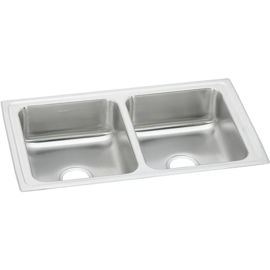 Elkay 19-in x 33-in Double-Basin Stainless Steel Kitchen Sink