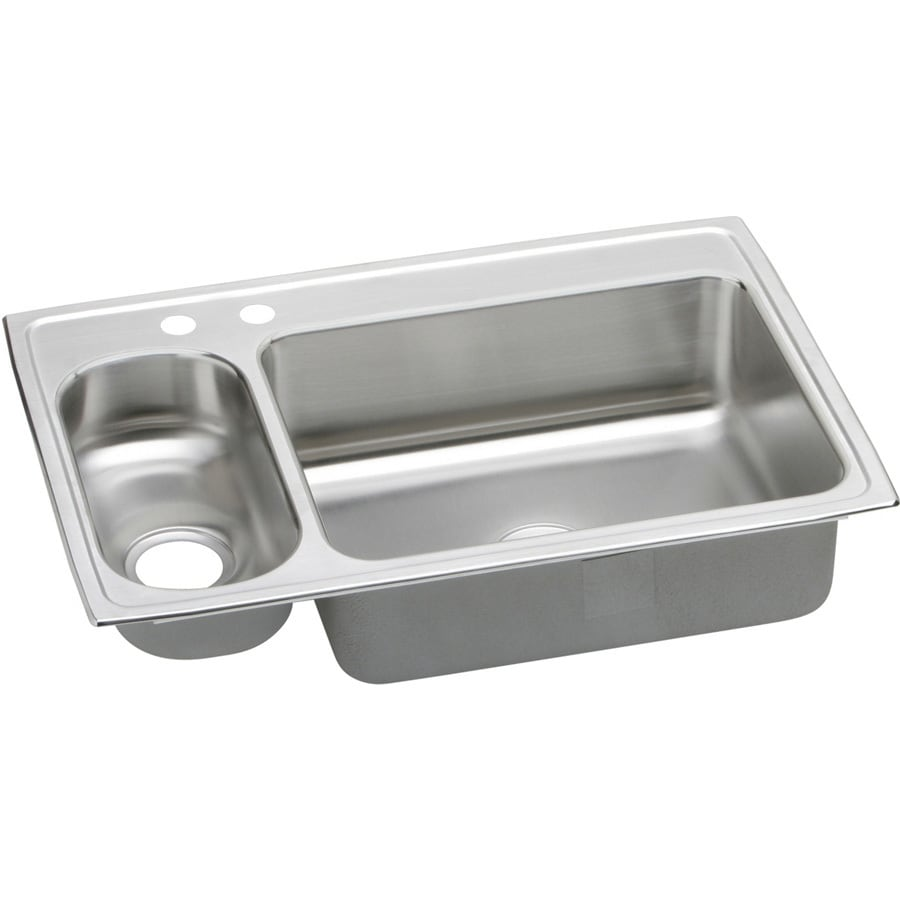 Elkay Gourmet 22-in x 33-in Bright Satin Double-Basin Stainless Steel Drop-in 2-Hole Residential Kitchen Sink Drainboard Included