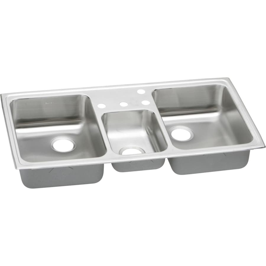 Elkay Pacemaker 22-in x 43-in Triple-Basin Stainless Steel Drop-in 4-Hole Residential Kitchen Sink