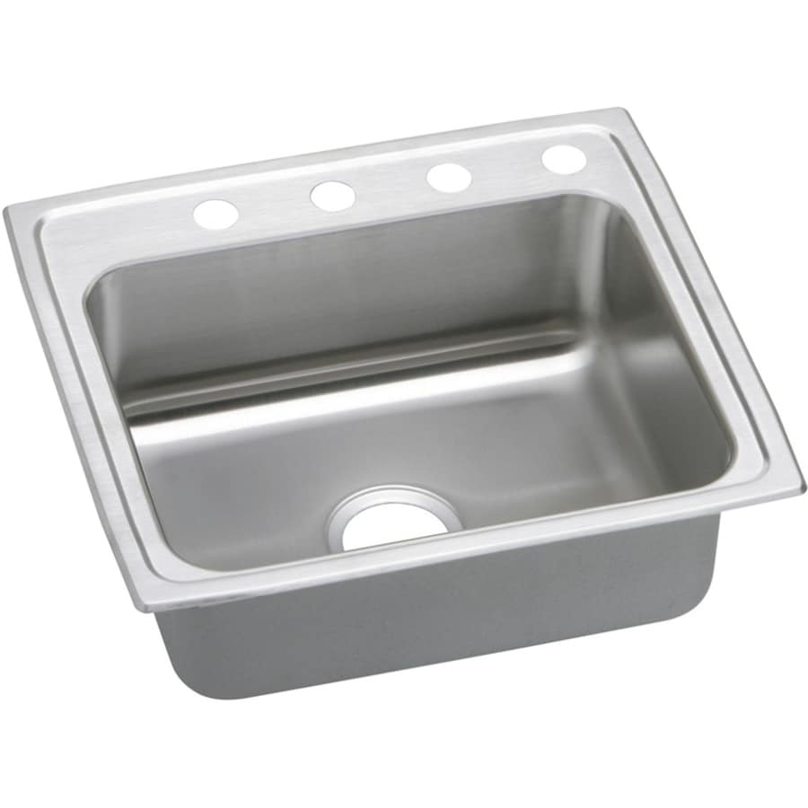 Elkay Gourmet 19.5-in x 22-in Single-Basin Stainless Steel Drop-in 4-Hole Residential Kitchen Sink