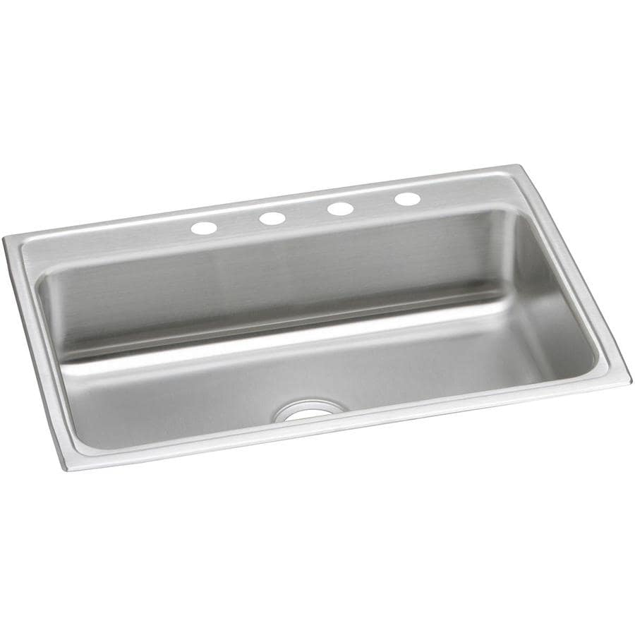 Elkay 22-in x 31-in Highlighted Satin Single-Basin Drop-In Kitchen Sink