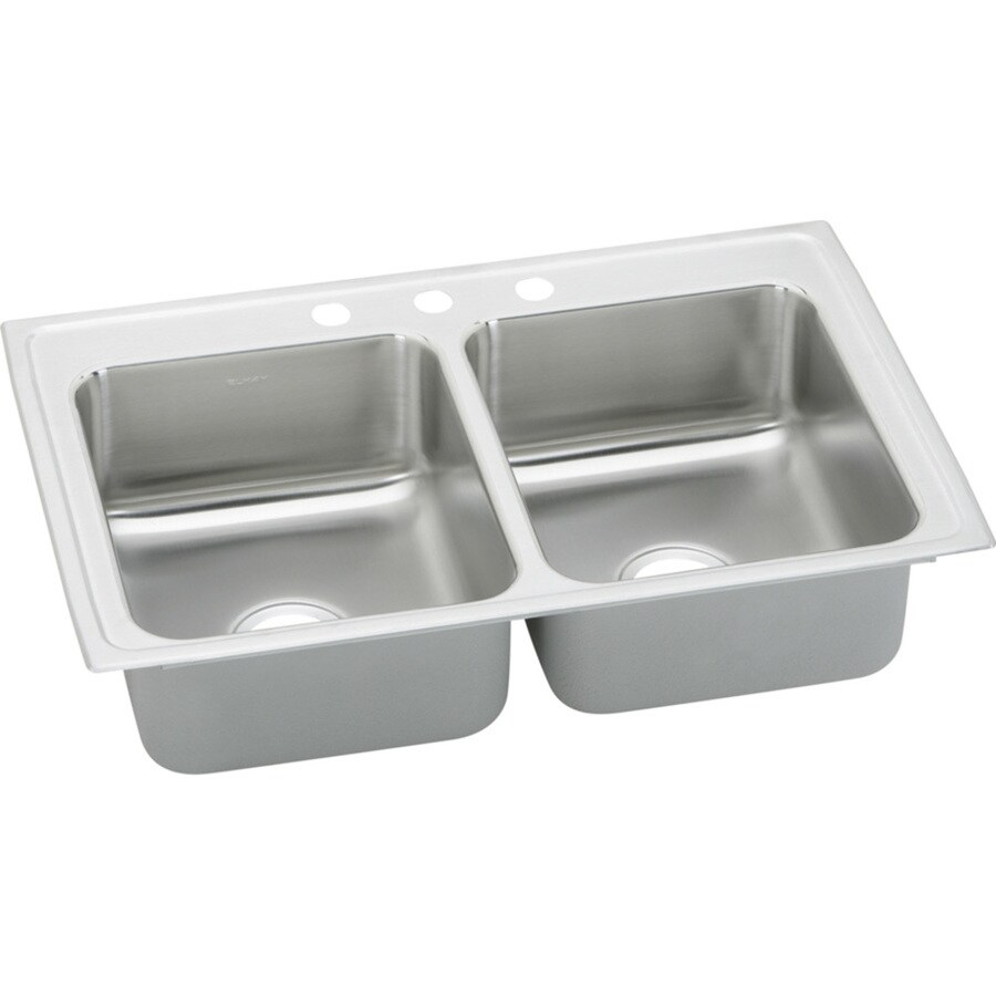 Elkay Pacemaker 19-in x 33-in Double-Basin Stainless Steel Drop-in 3-Hole Residential Kitchen Sink