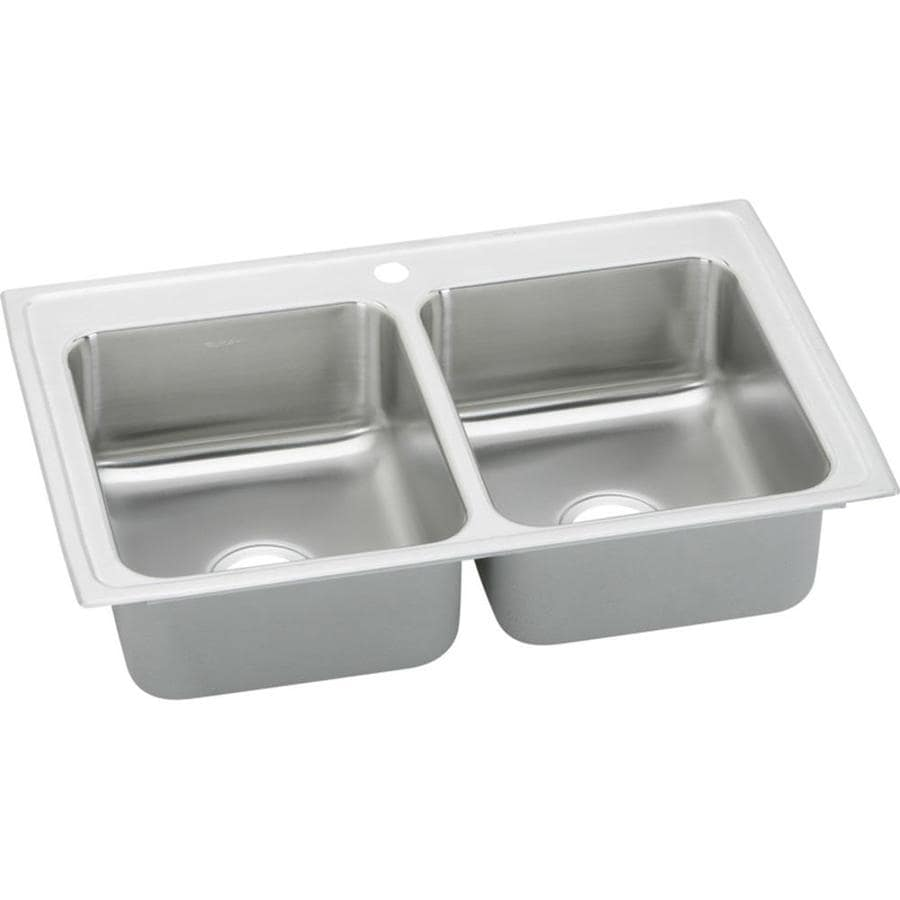 Elkay Gourmet 22-in x 43-in Pacemaker Double-Basin Drop-in 1-Hole Residential Kitchen Sink