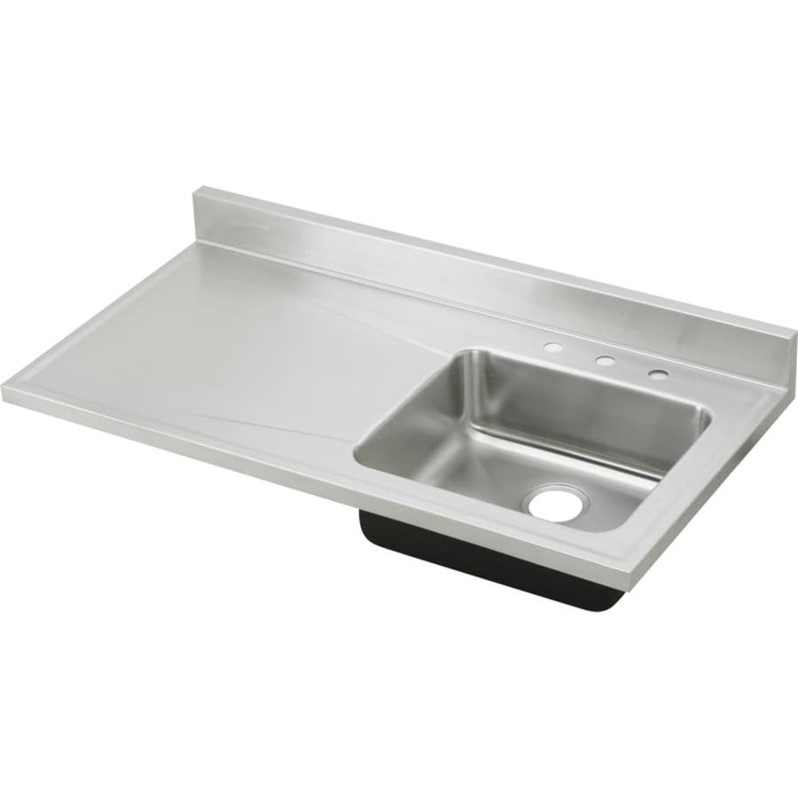 Elkay Gourmet 25-in x 48-in Lustertone Single-Basin Drop-in 3-Hole Residential Kitchen Sink Drainboard Included