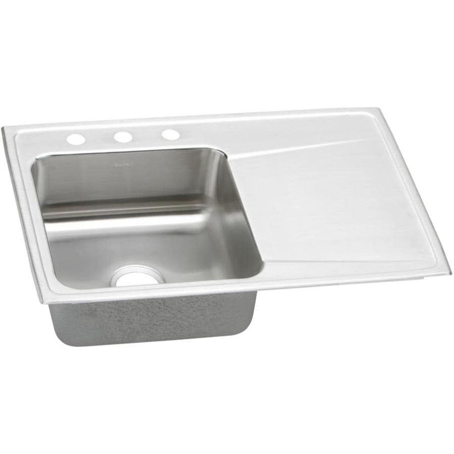 Elkay Gourmet 22-in x 33-in Lustertone Single-Basin Stainless Steel Drop-in 3-Hole Residential Kitchen Sink