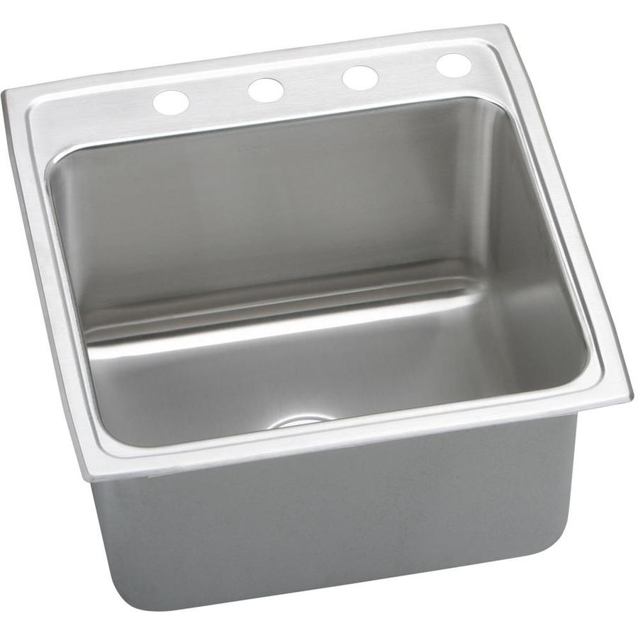 Elkay Gourmet 22-in x 22-in Lustertone Single-Basin Stainless Steel Drop-in 4-Hole Residential Kitchen Sink