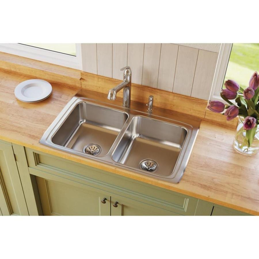 Elkay Gourmet 22-in x 33-in Lustertone Double-Basin Stainless Steel Drop-in 1-Hole Residential Kitchen Sink Drainboard Included
