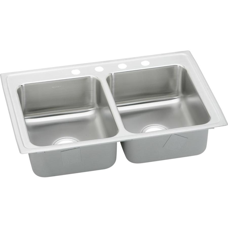 Elkay Gourmet 22-in x 43-in Lustrous Highlighted Satin Single-Basin-Basin Stainless Steel Drop-in 2-Hole Residential Kitchen Sink