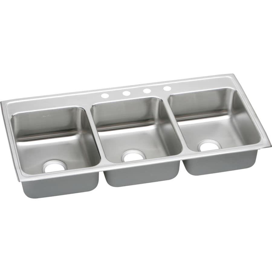Elkay Gourmet 22-in x 46-in Lustertone Triple-Basin Drop-in 4-Hole Residential Kitchen Sink Drainboard Included