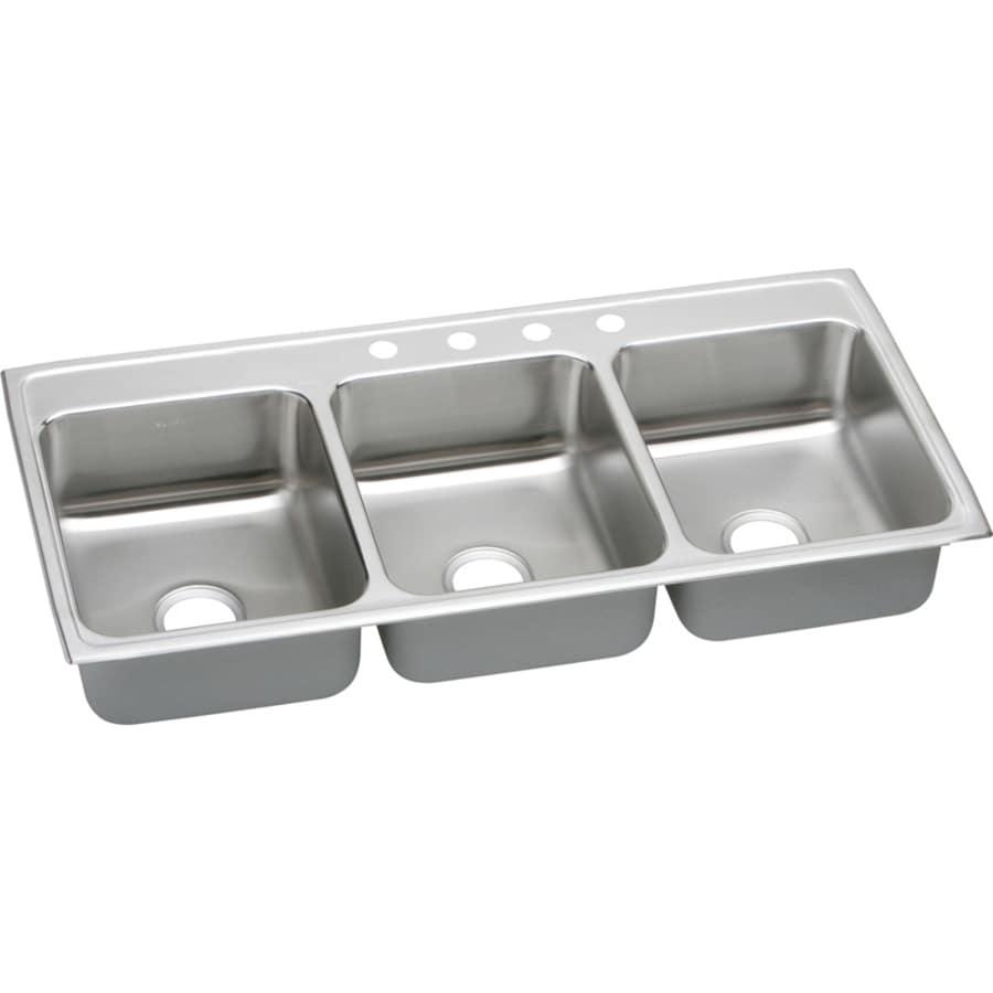 Elkay Gourmet 22-in x 46-in Lustertone Triple-Basin Stainless Steel Drop-in 4-Hole Residential Kitchen Sink Drainboard Included