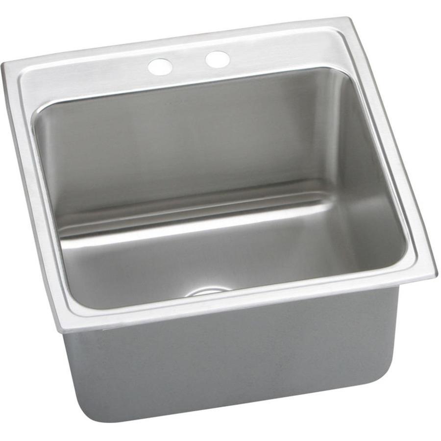 Elkay Gourmet 22-in x 22-in Lustertone Single-Basin Drop-in 2-Hole Residential Kitchen Sink