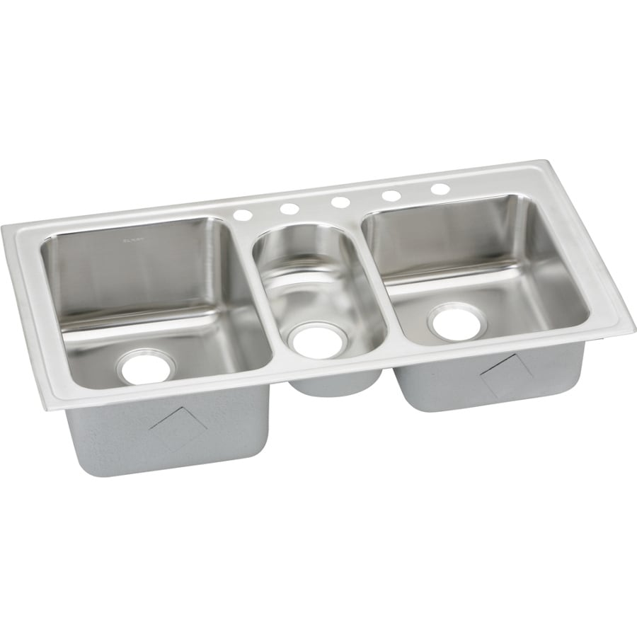 Elkay Harmony 22-in x 43-in Lustertone 3 Stainless Steel Drop-in 5-Hole Residential Kitchen Sink Drainboard Included