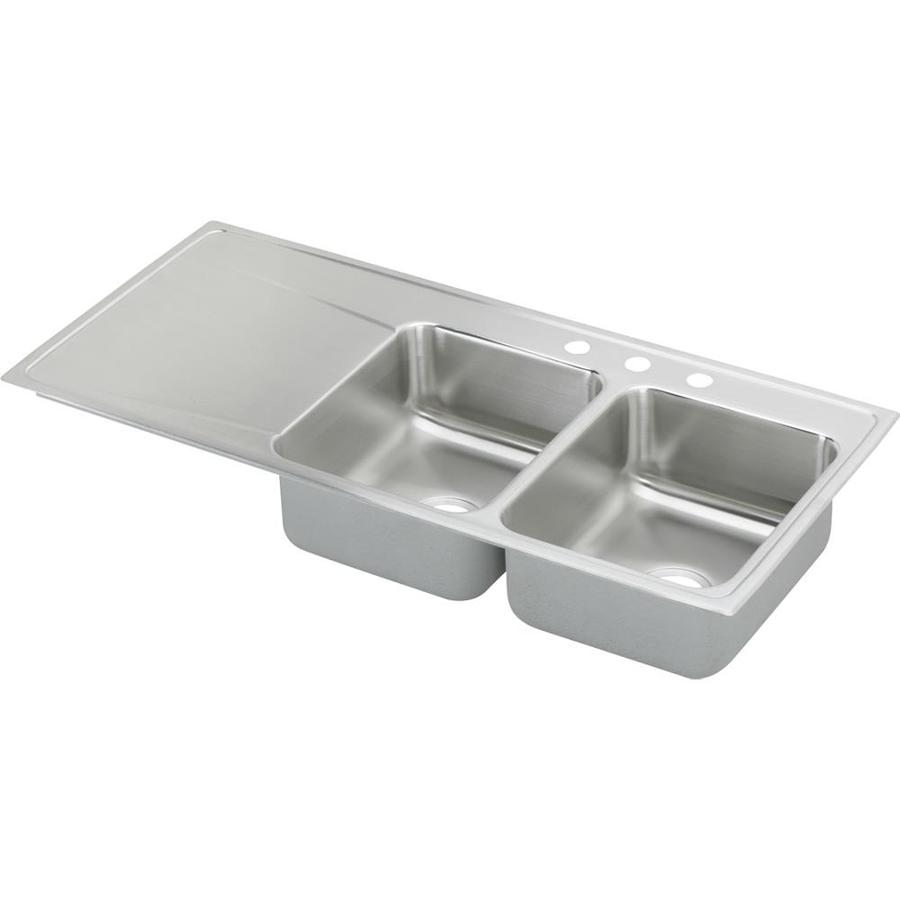 Elkay Gourmet 22-in x 48-in Lustertone Double-Basin Stainless Steel Drop-in 3-Hole Residential Kitchen Sink Drainboard Included