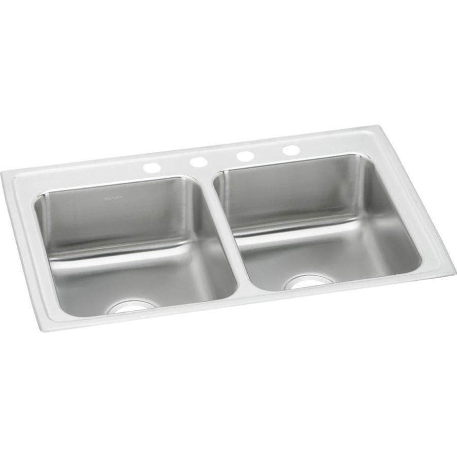 Elkay 22-in x 29-in Stainless Double-Basin Drop-In Kitchen Sink