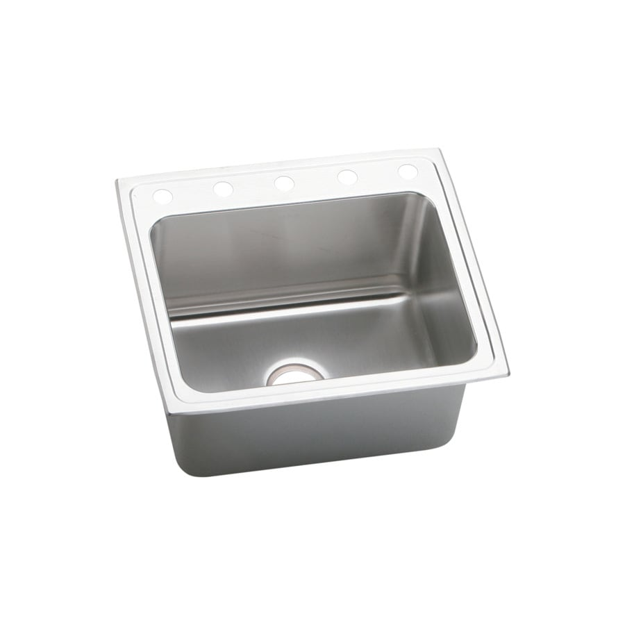 Elkay Gourmet 22-in x 25-in Lustertone Single-Basin Drop-in 5-Hole Residential Kitchen Sink