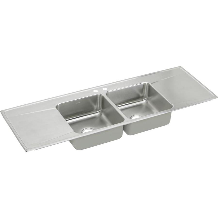 Elkay Gourmet 22-in x 66-in Lustertone Double-Basin Stainless Steel Drop-in 2-Hole Residential Kitchen Sink Drainboard Included