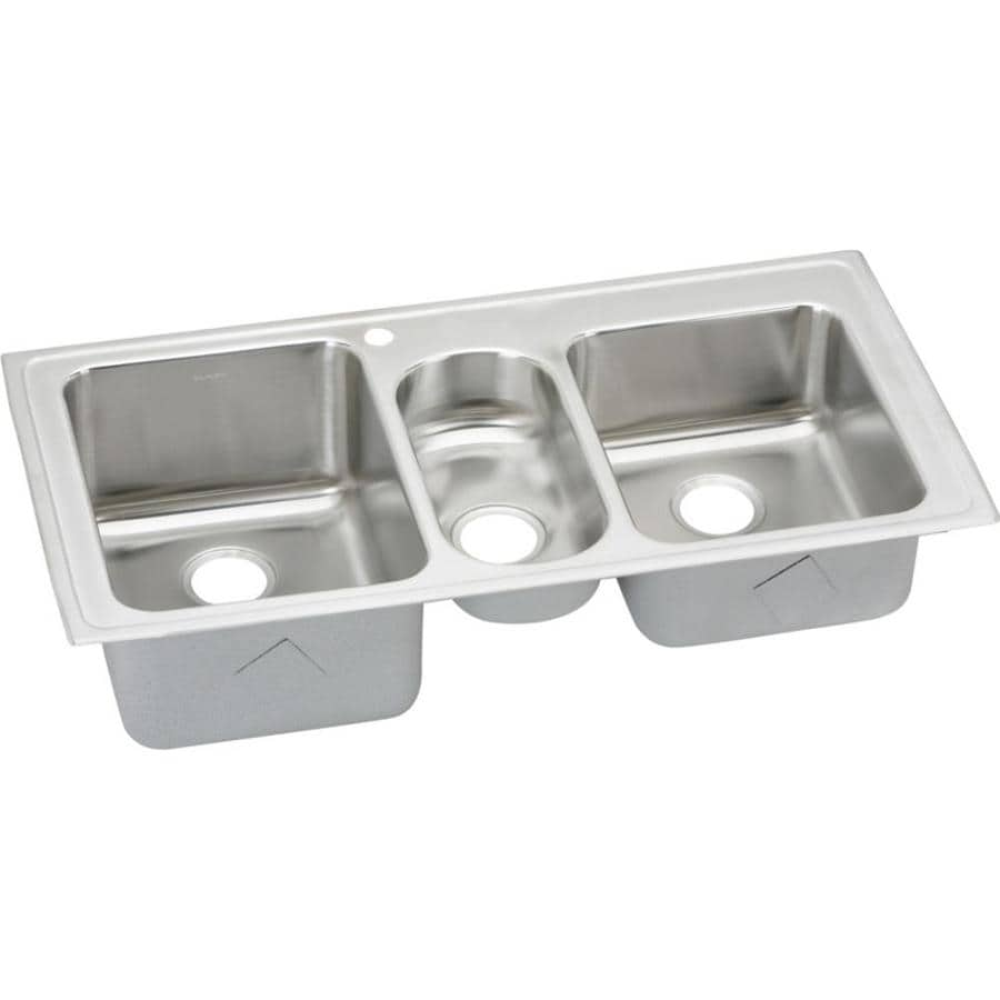 Elkay Harmony 22-in x 43-in Lustertone Triple-Basin Drop-in 1-Hole Residential Kitchen Sink Drainboard Included