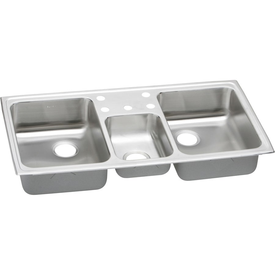 Elkay Gourmet 22-in x 43-in Triple-Basin Stainless Steel Drop-in 5-Hole Residential Kitchen Sink
