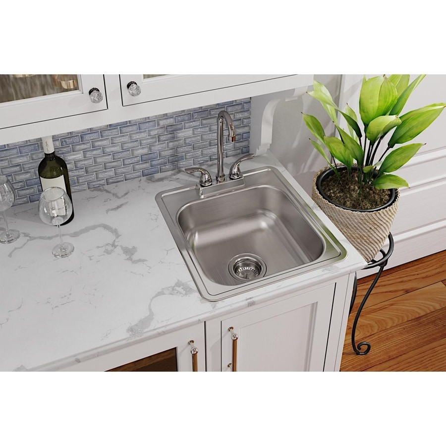 Elkay Dayton 17 In L X 19 In W Satin 1 Hole Stainless Steel Drop In Residential Bar Sink In The Bar Prep Sinks Department At Lowes Com