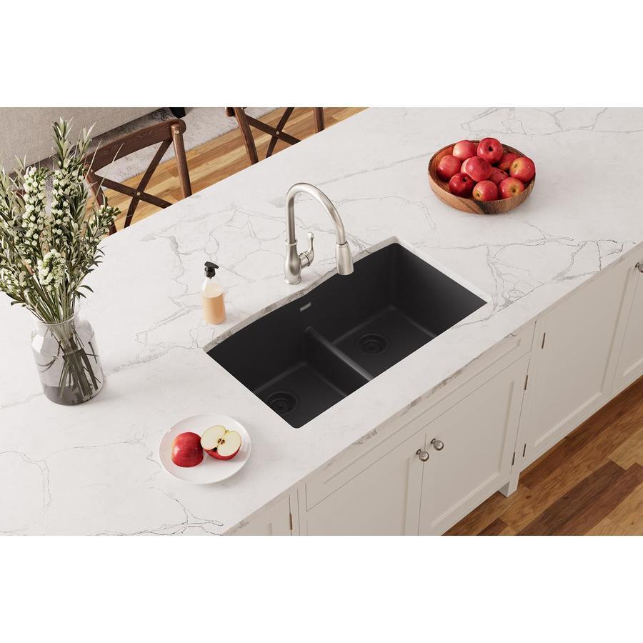 Kitchen Sink 19 X 33: Elkay Quartz Classic 33-in X 19-in Black Double-Basin