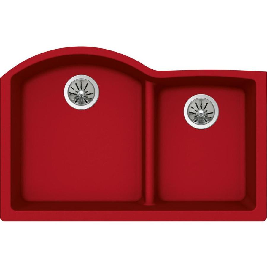 Elkay Harmony 22.0 x 33.0 Maraschino Double-Basin Undermount None (customizable)-Hole Kitchen Sink