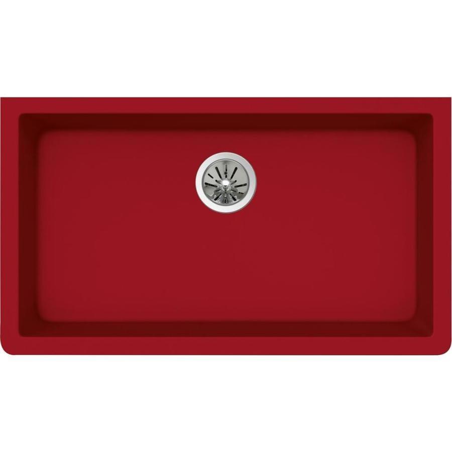 Elkay Gourmet 18.4375 x 33.0 Maraschino Single-Basin Undermount None (customizable)-Hole Kitchen Sink