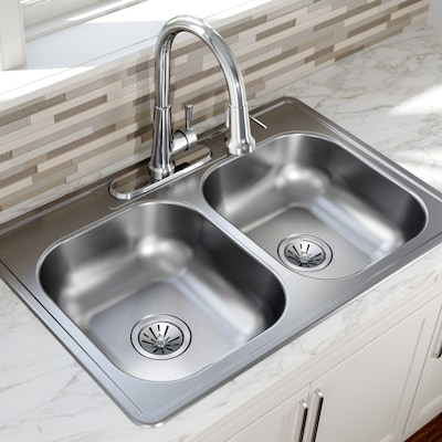 33-in x 22-in Satin Double Equal Bowl Drop-In 4-Hole Residential Kitchen  Sink