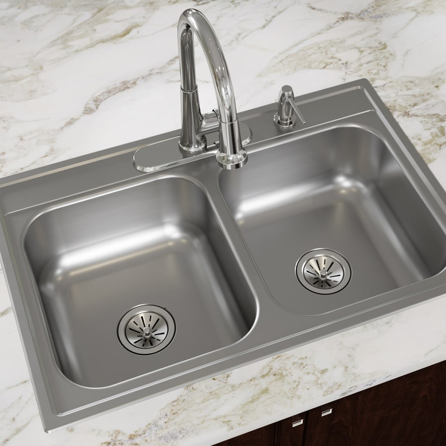 Dayton 33-in x 22-in Satin Double-Basin Stainless Steel Drop-in 4-Hole Residential Kitchen Sink