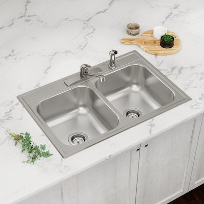 33-in x 22-in Satin Double Equal Bowl Drop-In 4-Hole Residential Kitchen  Sink All-in-One Kit