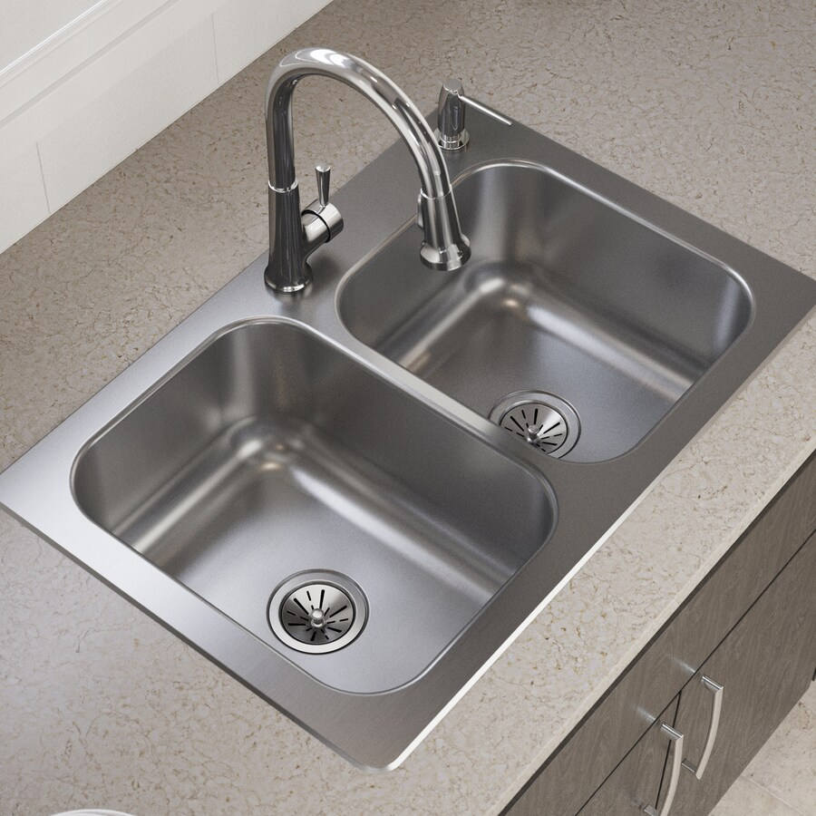 Elkay 33-in x 22-in Satin Double-Basin Stainless Steel Drop-in or Undermount 2-Hole Residential Kitchen Sink