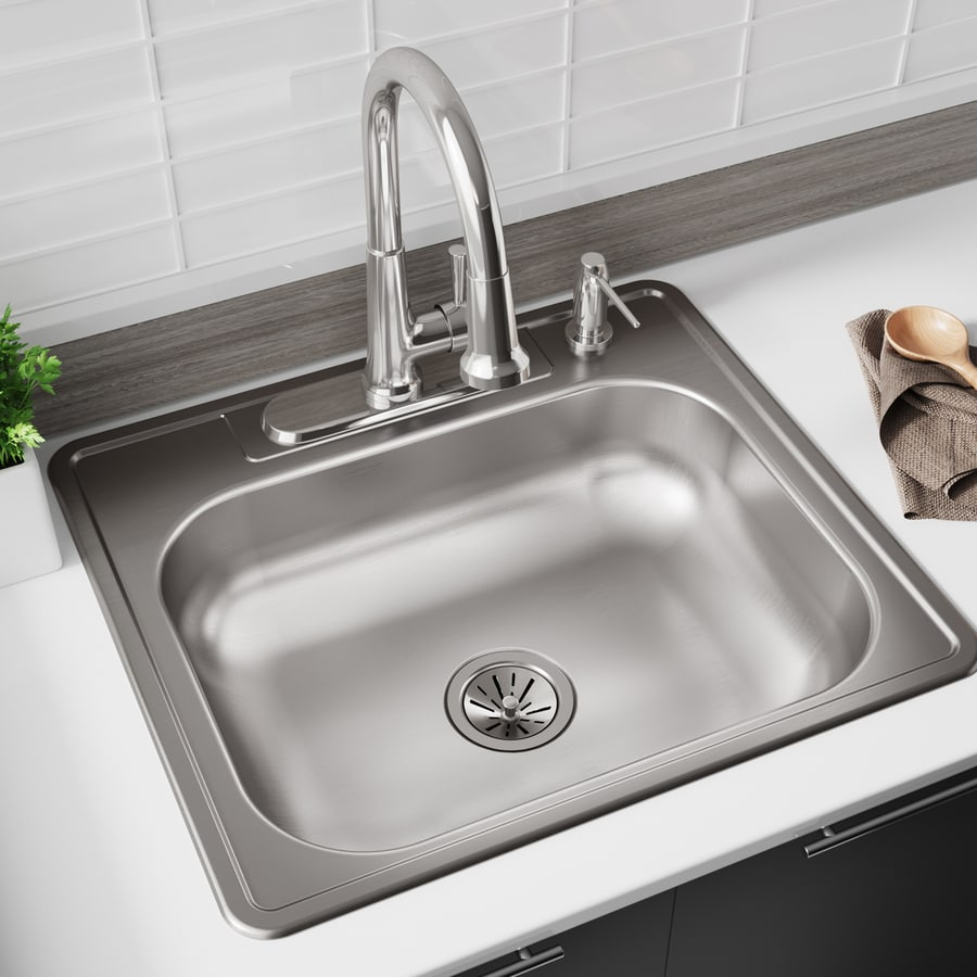 Kingsford 25-in x 22-in Satin Single-Basin Stainless Steel Drop-in 4-Hole Residential Kitchen Sink