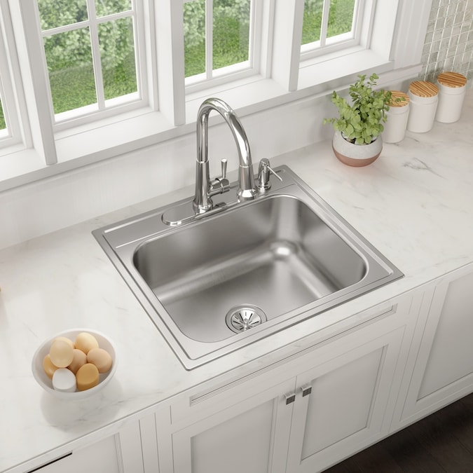 Elkay Drop In 25 In X 22 In Satin Single Bowl 4 Hole Kitchen Sink In The Kitchen Sinks Department At Lowes Com