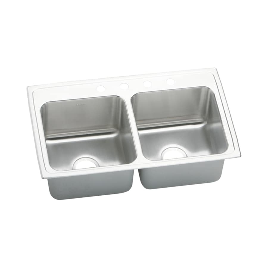 Elkay Gourmet 19.5-in x 33-in Lustrous Highlighted Satin Double-Basin Stainless Steel Drop-in 1-Hole Residential Kitchen Sink