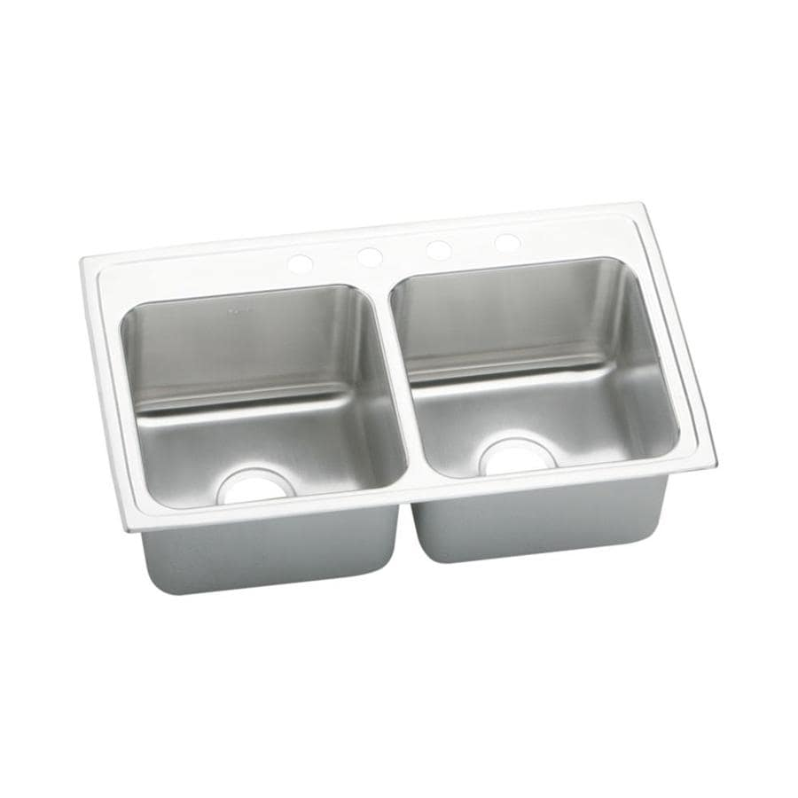 Elkay Gourmet 19.5-in x 33-in Lustrous Highlighted Satin Double-Basin Stainless Steel Drop-in 4-Hole Residential Kitchen Sink