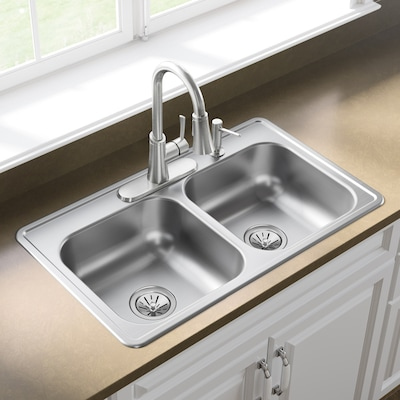 Dayton Drop In 33 In X 19 In Stainless Steel Double Equal Bowl 4 Hole Kitchen Sink In The Kitchen Sinks Department At Lowes Com