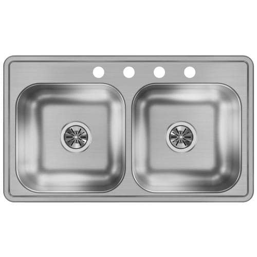 33-in x 19-in Stainless Steel Double Equal Bowl Drop-In 4-Hole Residential  Kitchen Sink
