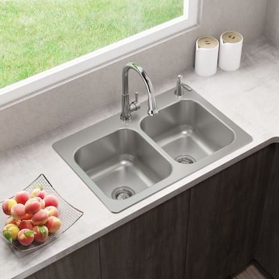 33-in x 22-in Stainless Steel Double Equal Bowl Drop-In or Undermount  2-Hole Residential Kitchen Sink