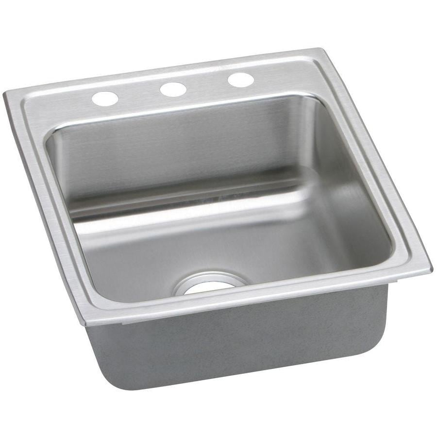 Elkay Gourmet 22-in x 19.5-in Lustrous Highlighted Satin 1 Stainless Steel Drop-in 3-Hole Residential Kitchen Sink