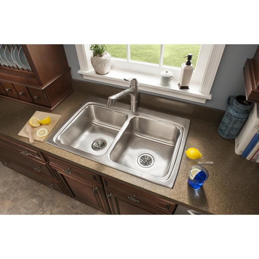 Elkay Gourmet 22-in x 33-in Stainless Steel Double-Basin Drop-in 5-Hole Residential Kitchen Sink