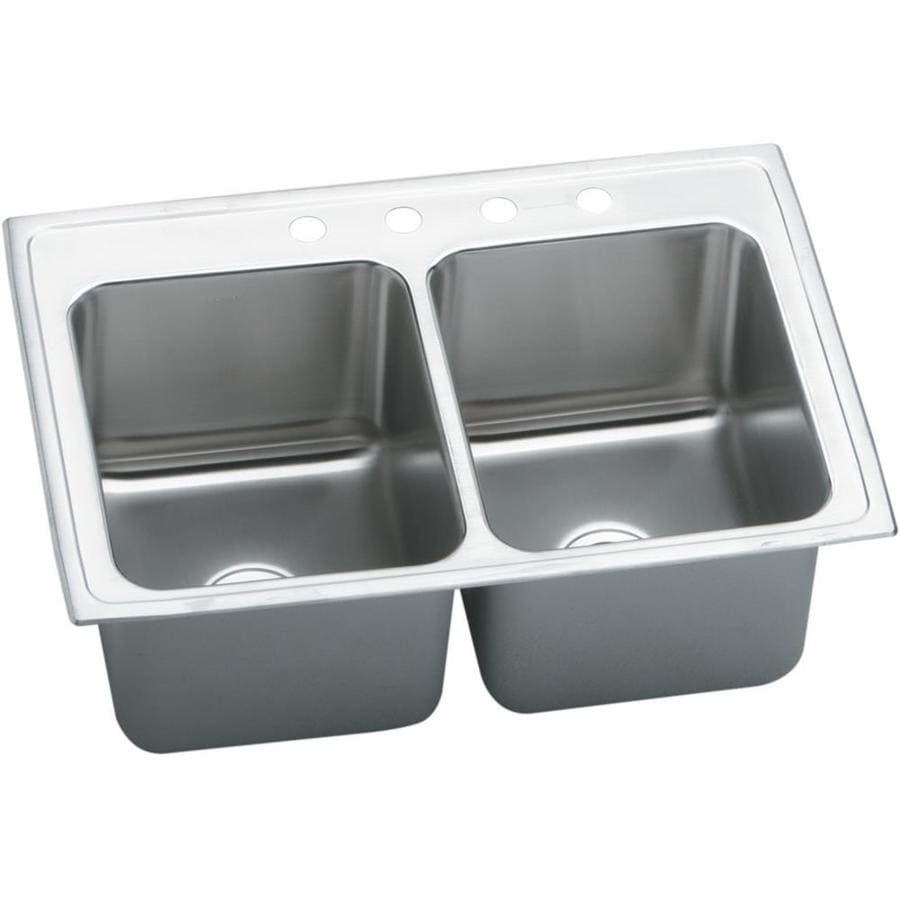 Elkay Gourmet 22-in x 37-in Lustertone Double-Basin Drop-in 4-Hole Residential Kitchen Sink