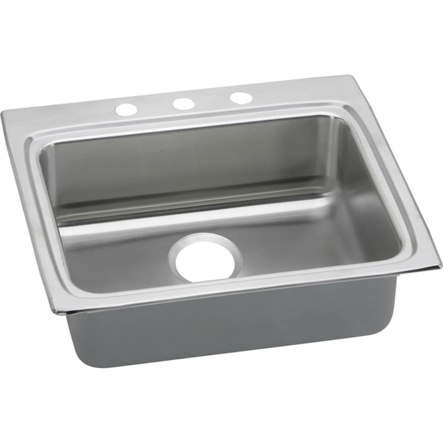 Elkay Gourmet 22-in x 25-in Lustertone Single-Basin Stainless Steel Drop-in 3-Hole Commercial/Residential Kitchen Sink Drainboard Included