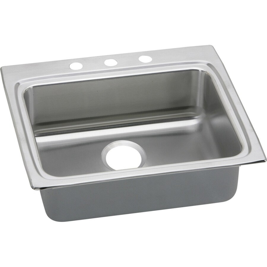 Elkay Gourmet 22-in x 25-in Lustertone Single-Basin Drop-in 3-Hole Commercial/Residential Kitchen Sink Drainboard Included