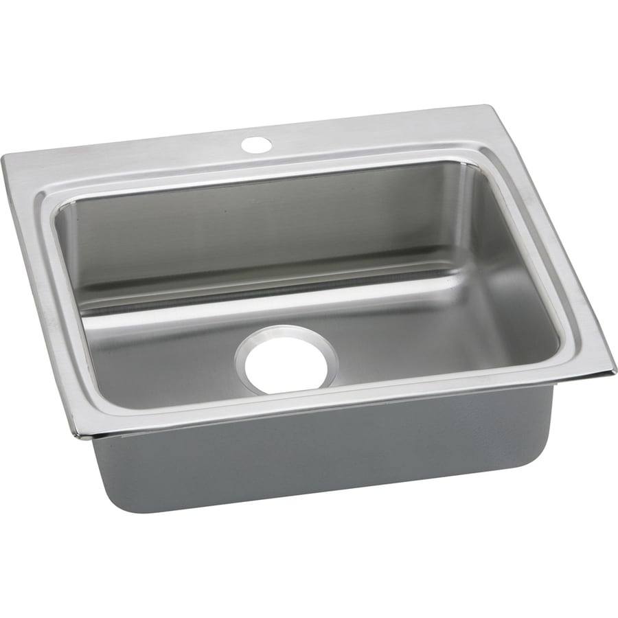 Elkay Gourmet 22-in x 25-in Lustertone Single-Basin-Basin Stainless Steel Drop-in 1-Hole Residential Kitchen Sink